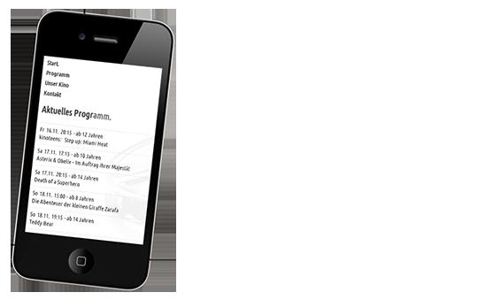 Smartphone zeigt Kinoprogramm